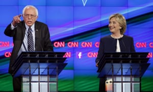 Bernie Sanders and Hillary Clinton at a CNN Democratic presidential debate