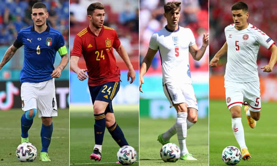 Left to right: Italy's Marco Verratti, Spain's Aymeric Laporte, John Stones of England and Denmark's Joakim Mæhle.