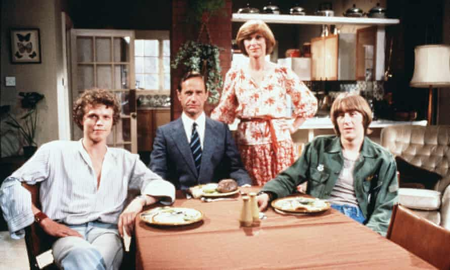 Geoffrey Palmer, second from left, in Butterflies, 1978, with, from left, Andrew Hall, Wendy Craig and Nicholas Lyndhurst.