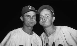 Nelson Fox of the Brooklyn Dodgers and Don Zimmer of the Chicago White Sox chewing tobacco in 1955.