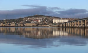 The Dundee waterfront reflected in the River Tay.