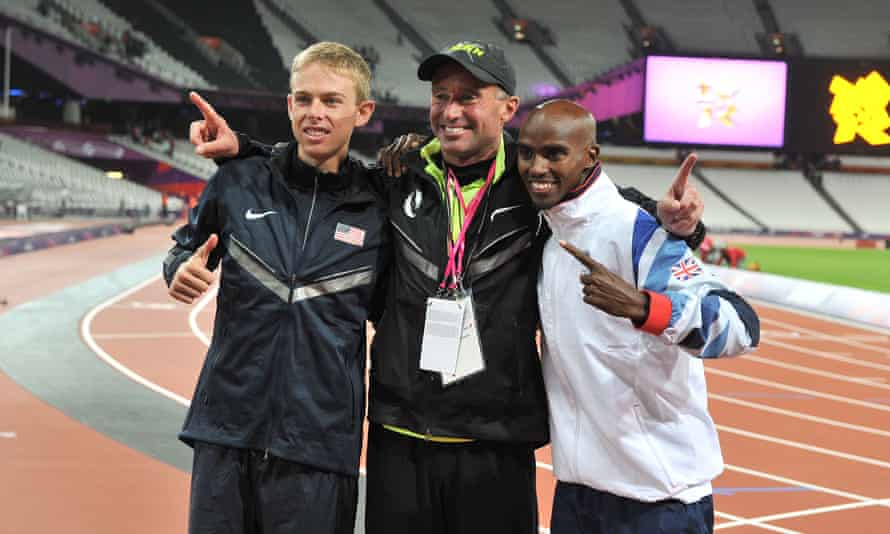 Alberto Salazar (centre), seen here with Galen Rupp and Mo Farah at the 2012 Olympics, has been banned for four years.