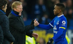 Ronald Koeman congratulates January signing Ademola Lookman after his goal against Manchester City.