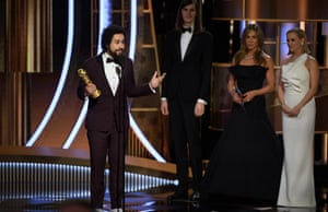 Ramy Youssef accepting the award for best performance by an actor in a TV musical or comedy for Ramy