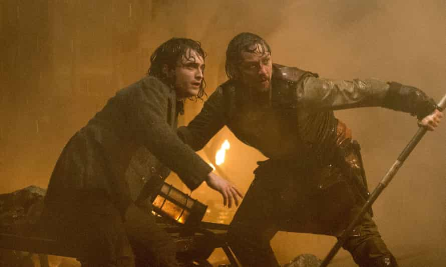 Creepy chemistry … Daniel Radcliffe and James McAvoy in Victor Frankenstein.