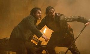 Daniel Radcliffe and James McAvoy in Victor Frankenstein.