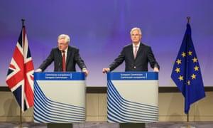 The UK's Brexit secretary David Davis (left) with chief EU negotiatior Michel Barnier at a press conference in Brussels