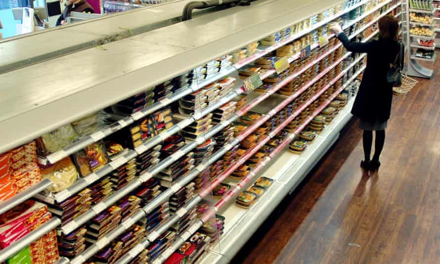 Shelves of chilled food in a Marks & Spencer