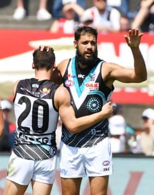 Patrick Ryder of the Power reacts after scoring one of his team's many goals during the Round 11 AFL match between St Kilda Saints and Port Adelaide Power at Jiangwan Stadium, Shanghai, China.