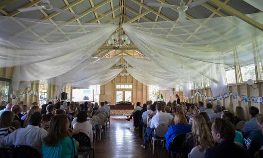 Scene from a funeral held in a hall in Mosman at which Elizabeth Trevan of Sydney served as a celebrant.