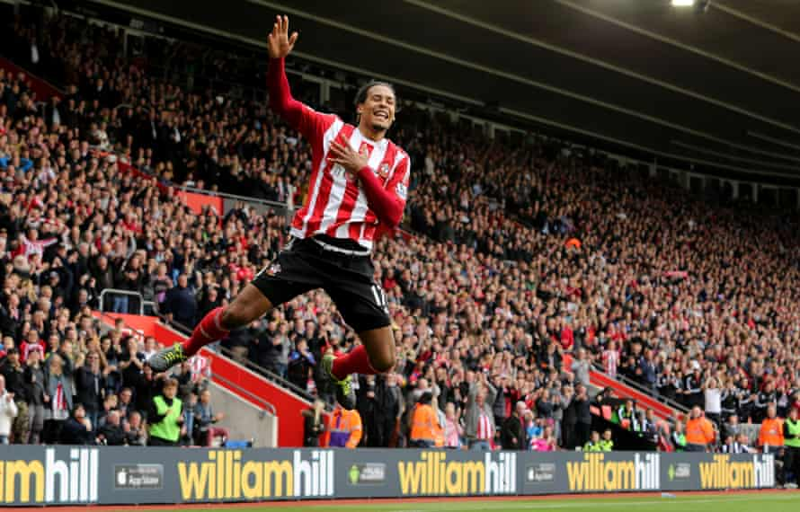 Virgil Van Dijk celebrates scoring Southampton's second goal against Leicester City at St. Mary's Stadium.