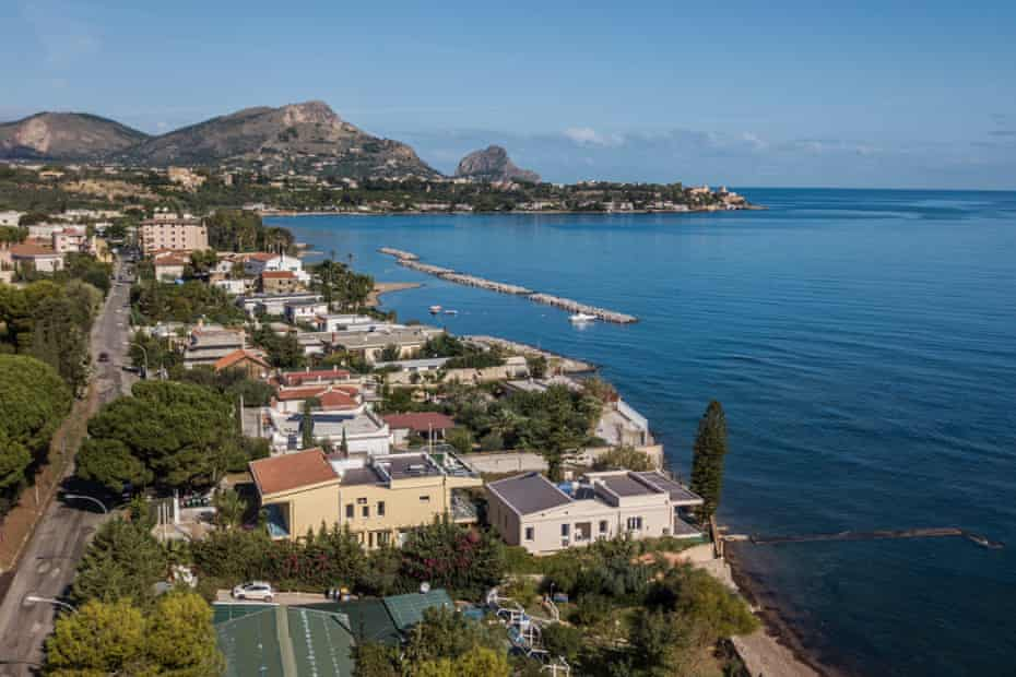 Aerial view over the coast of Altavilla Milicia, about 20km from Palermo