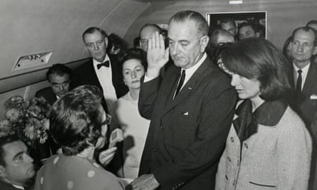 Vice-president Lyndon Baines Johnson takes the presidential oath of office in Dallas, Texas, two hours after Kennedy was shot.
