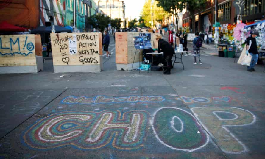 Protesters against racial inequality occupy space at the 'Chop' area in Seattle.