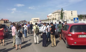 People gather near the site of the explosion in Bishkek, Kyrgyzstan.