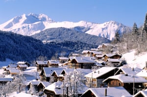 France, Haute Savoie, Morzine and the Mont Chery in the background