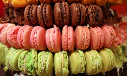 Detail of macarons in a variety of colours, a sweet meringue-based confectionery.CCD496 Detail of macarons in a variety of colours, a sweet meringue-based confectionery.