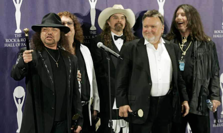 In this March 13, 2006 file photo, members of Lynyrd Skynyrd appear backstage after being inducted at the annual Rock and Roll Hall of Fame dinner in New York.