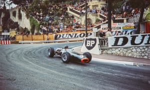 Graham Hill in his BRM racing car at the Monaco Grand Prix on 30 May 1965