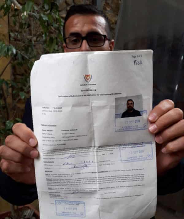 Basin Hussain with his asylum application in Nicosia.
