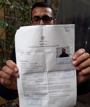 Basin Hussain with his asylum application in Nicosia.