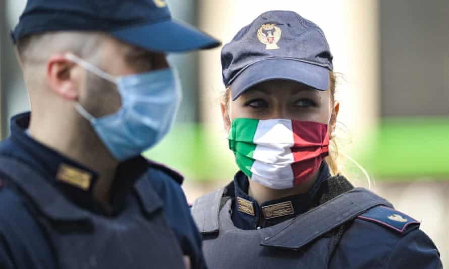 Italian police at a road checkpoint in Milan.