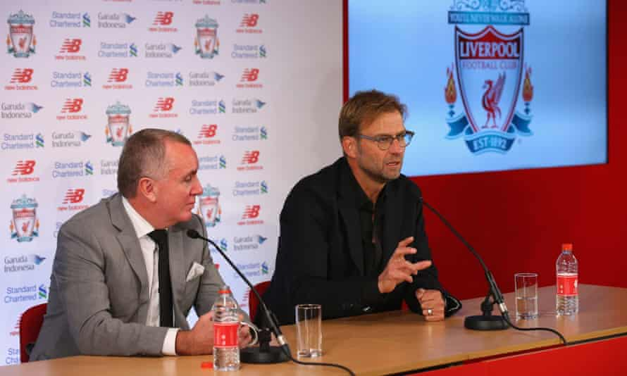 Jurgen Klopp, pictured alongside the Liverpool chief executive, Ian Ayre, says: 'Progress is not possible without a bit of time.'