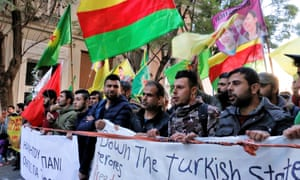 Kurds in Athens protest against Turkish violations of Kurdish rights on 18 January 2018
