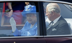The Queen sets off to deliver her speech with Prince Charles.