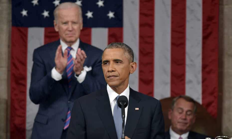 Biden applauds while Boehner doesn't, as Barack Obama delivers his State of the Union address in 2016.
