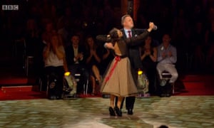 Ed Balls and his dance partner, Katya Jones, perform the waltz on Strictly Come Dancing