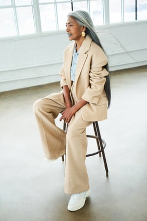 Runway reckoning: JoAni Johnson wears ecru blazer and trousers by acnestudios.com; silk shirt by equipmentfr.com and trainers by adidas.com.