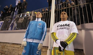 Roberto Carlos, right, had bananas thrown at him more than once when playing in Russia with Anzhi Makhachkala.