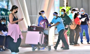 Tourists arriving at Sir Seewoosagur Ramgoolam International Airport in Port Louis when Mauritius partially reopened to international travellers in July.