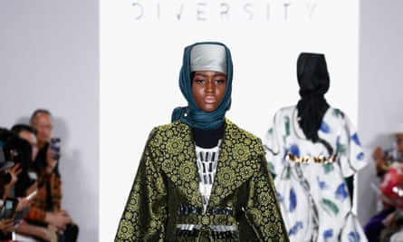 A model wearing a Dian Pelangi creation at the Indonesian Diversity fashion show in New York.