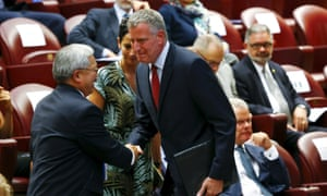 Mayor Bill de Blasio of New York City is greeted by San Francisco mayor Ed Lee during the Modern Slavery and Climate Change meeting at the Vatican on Tuesday.