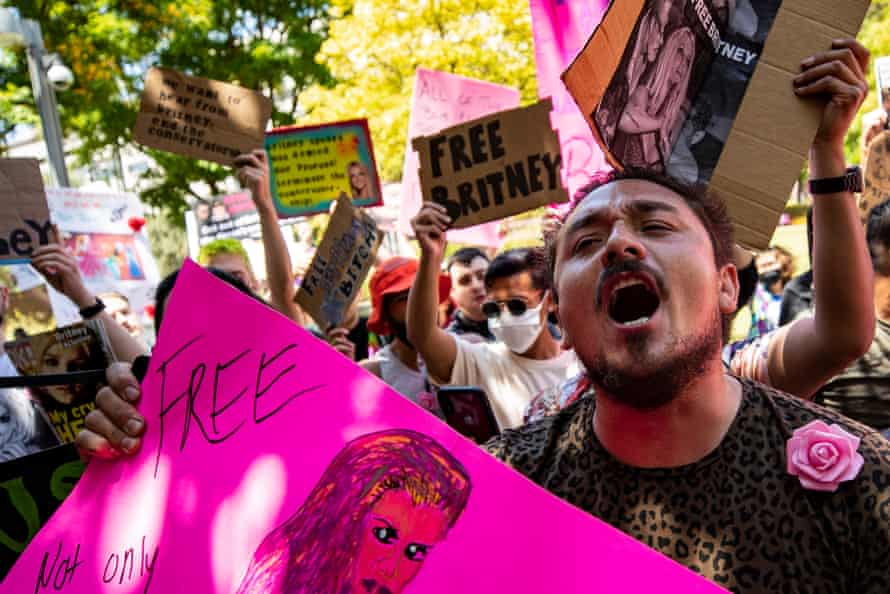 Demonstrators rally during a #FreeBritney protest outside this week's conservatorship hearing in Los Angeles.