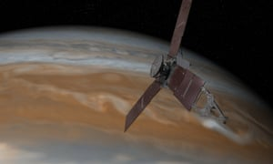 An artist's impression of the Juno spacecraft approaching Jupiter.