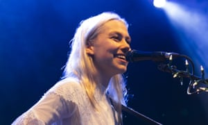 Phoebe Bridgers performing on the Walled Garden stage.