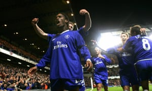 Didier Drogba celebrates after scoring Chelsea's fourth goal against Bayern Munich in 2005.