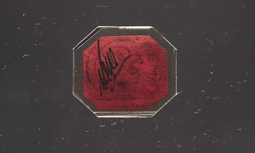 The British Guiana One-Cent Magenta stamp at Sotheby's auction house in London.