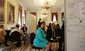 The Commonwealth secretary general, Patricia Scotland, engages in discussion with scientists at the  climate-change reversal workshop in London.