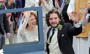 Rose Leslie and Kit Harington leaving their wedding.