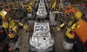 A robotic production line at Nissan's Sunderland car plant