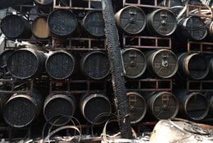 Wine barrels were damaged at Fairwinds Estate Winery in Calistoga, California.