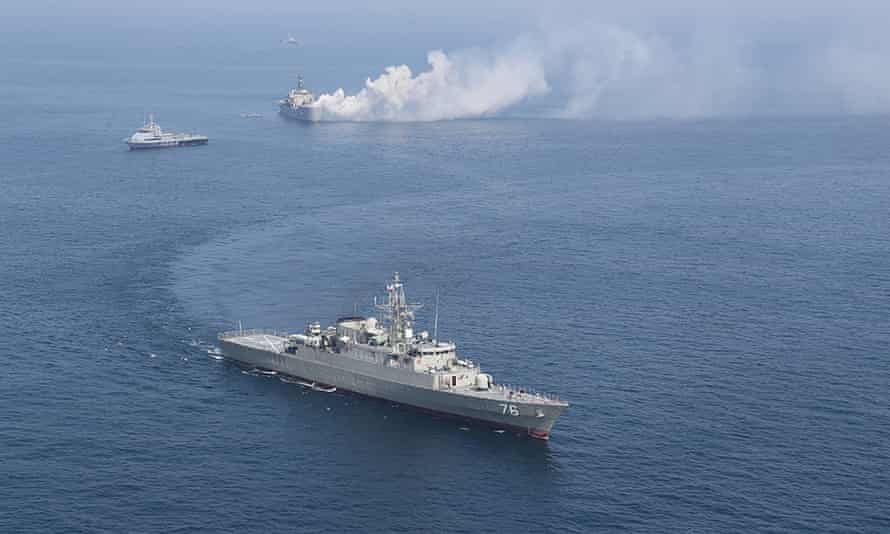 Iranian warships are seen during a joint naval exercise with Russian navy in the Indian Ocean in February.