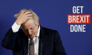 Boris Johnson in front of the words 'Get Brexit Done'