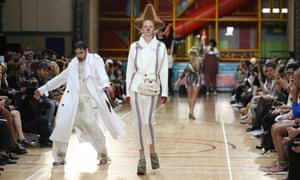 Models present creations at the Vivienne Westwood catwalk show.