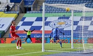 Leicester City's Jamie Vardy celebrates scoring their second goal.