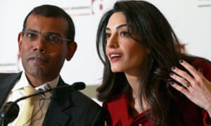 Nasheed and his lawyer Amal Clooney at press conference in London